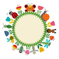 frame with funny insect - vector illustration, eps