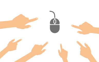 Hände zeigen auf - Computermaus