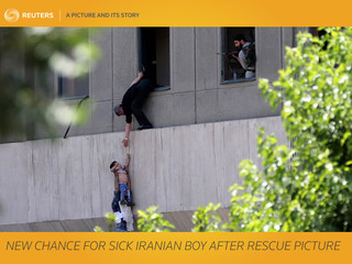 A Picture and its Story: New chance for sick Iranian boy after rescue picture