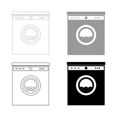 Washing machine   the black and grey color set icon .