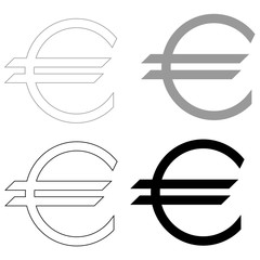 Euro symbol   the black and grey color set icon .