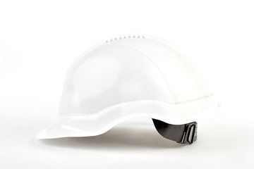 Close up engineer hat isolated. Builder protective hard hat, white background.