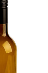 Closeup of half glass bottle. Wine transparent bottle isolated.