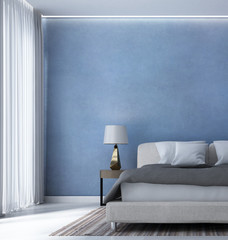 The 3d rendering interior design of minimal bedroom and blue wall texture