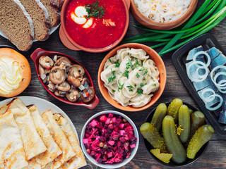 russian food assortment