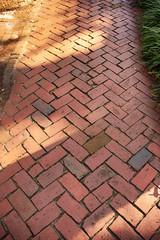 Herringbone Pattern pathway using handmade bricks