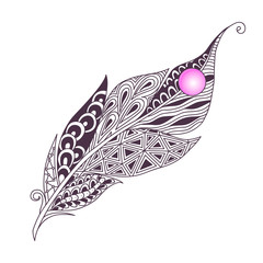 Isolated hand drawn black outline abstract ornate bird feather with pink stone on white background. Ornament of curve lines.
