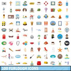 100 furlough icons set, cartoon style