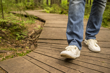 Girl in white sneakers and jeans walking along ecological wooden path in the summer forest.