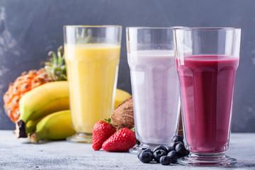 Berry, multifruit and banana milkshakes