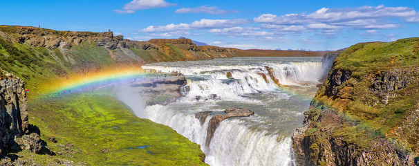 Panorama of the Gullfoss waterfall and rainbow - Iceland