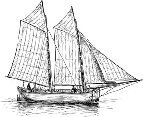 A sailing fishing boat in the sea