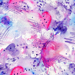 Abstract watercolor seamless pattern with splatter spots, lines, drops, splashes and hearts