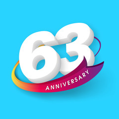 Anniversary emblems 63 anniversary template design