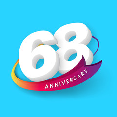 Anniversary emblems 68 anniversary template design