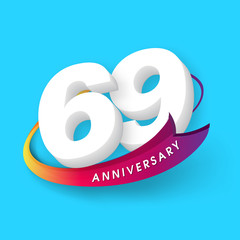Anniversary emblems 69 anniversary template design