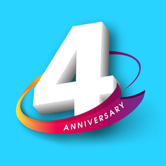 Anniversary emblems 4 anniversary template design
