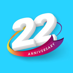 Anniversary emblems 22 anniversary template design
