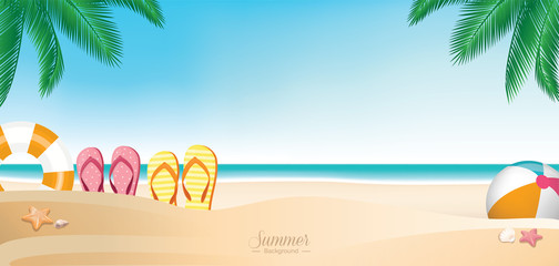 Colorful summer vacation beach banner background