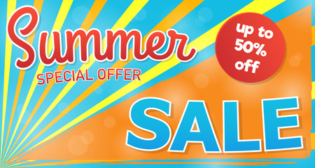 Summer sale - concept of banner. Vector.