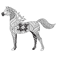 Arabian horse zentangle stylized, vector, illustration, freehand pencil, pattern. Zen art. Black and white illustration on white background. Adult anti-stress coloring book.