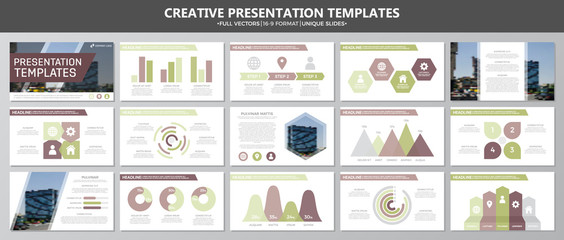 Set of multi colour elements for multipurpose presentation template slides with graphs and charts. Leaflet, corporate report, marketing, advertising, annual report, book cover design.