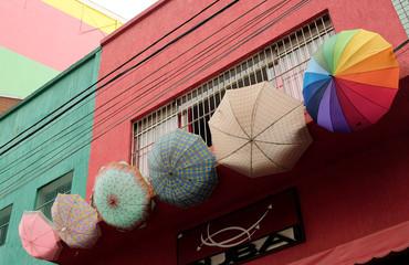 Umbrellas hang outside a souvenir shop in Sao Paulo