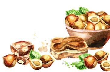 Hazelnut background. Watercolor hand-drawn template