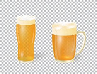 Festival of beer. A light beer in a mug and a glass with foam, isolated on a checker background. illustration
