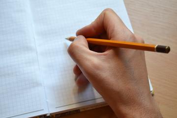 Рука пишущая в блокноте