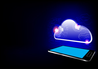Cellphone with light cloud icon vector technology background