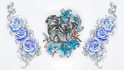 Set of sketches of a pug in flowers and a rose on a white background.
