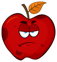 Grumpy Rotten Red Apple Fruit Cartoon Mascot Character. Illustration Isolated On White Background