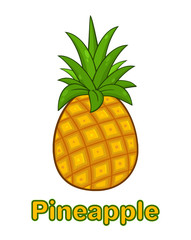 Pineapple Fruit With Green Leafs Cartoon Drawing Simple Design. Illustration Isolated On White Background With Text