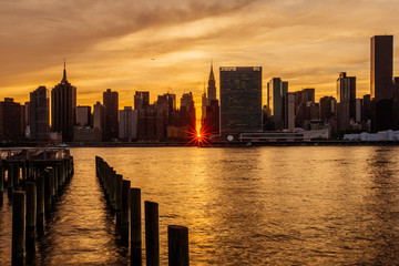 Sunset Manhattanhenge at Midtown Manhattan Skyline, New York United States
