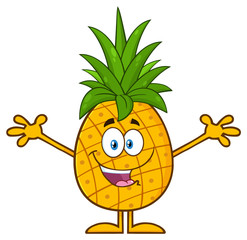 Happy Pineapple Fruit With Green Leafs Cartoon Mascot Character With Open Arms For Hugging. Illustration Isolated On White Background