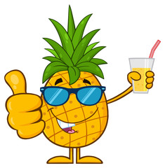 Pineapple Fruit With Green Leafs And Sunglasses Cartoon Character Holding Up A Glass Of Juice And Giving A Thumb Up. Illustration Isolated On White Background