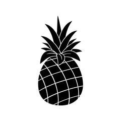 Pineapple Fruit Black And White Silhouette Simple Design. Illustration Isolated On White Background