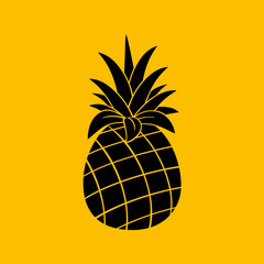 Pineapple Fruit Black And White Silhouette Simple Design. Illustration With Orange Background