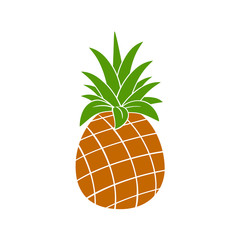 Pineapple Fruit With Green Leafs Silhouette Simple Flat Design. Illustration Isolated On White Background