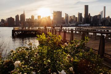 Manhattan Midtown Skyline view from Long Island City, Queens New York USA