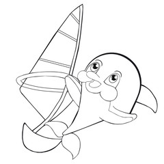 Coloring book  windsurfing with dolphin.  Cartoon style. Clip art for children.