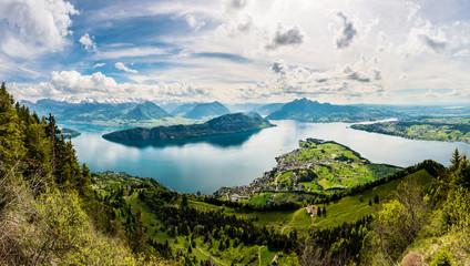 Panorama, Sicht auf Vierwaldstättersee und Weggis von der Rigi aus, Schweiz, Europa