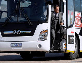 England arrive at the team hotel in South Africa