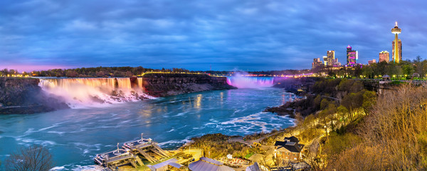 Panoramic view of Niagara Falls in the evening from Canada