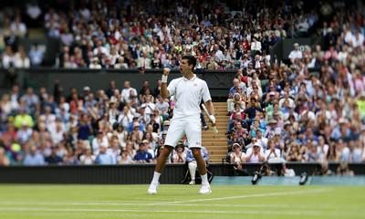 Men's Singles - Serbia's Novak Djokovic celebrates during his first round match