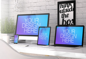 4 Devices on White Table with Motivational Poster Mockup 1