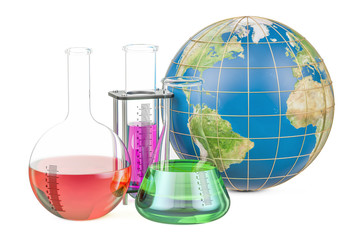 Flasks with Earth globe, global research and discovery concept. 3D rendering