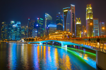 Fototapete - Beautiful Singapore Downtown at night