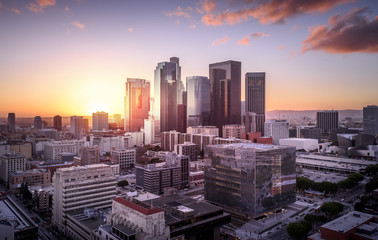 Keuken foto achterwand Los Angeles Downtown Skyline at Sunset. Los Angeles, California, USA